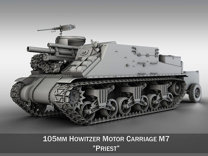 3d Model M7 Priest Howitzer Motor Carriage Cgtrader