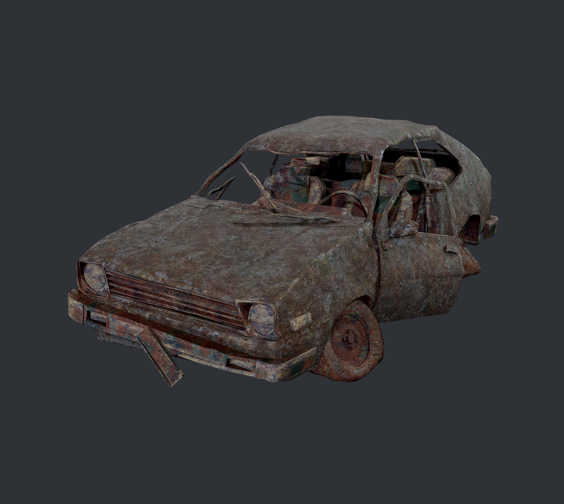 Apocalyptic Damaged Destroyed Vehicle Car Game Ready 14