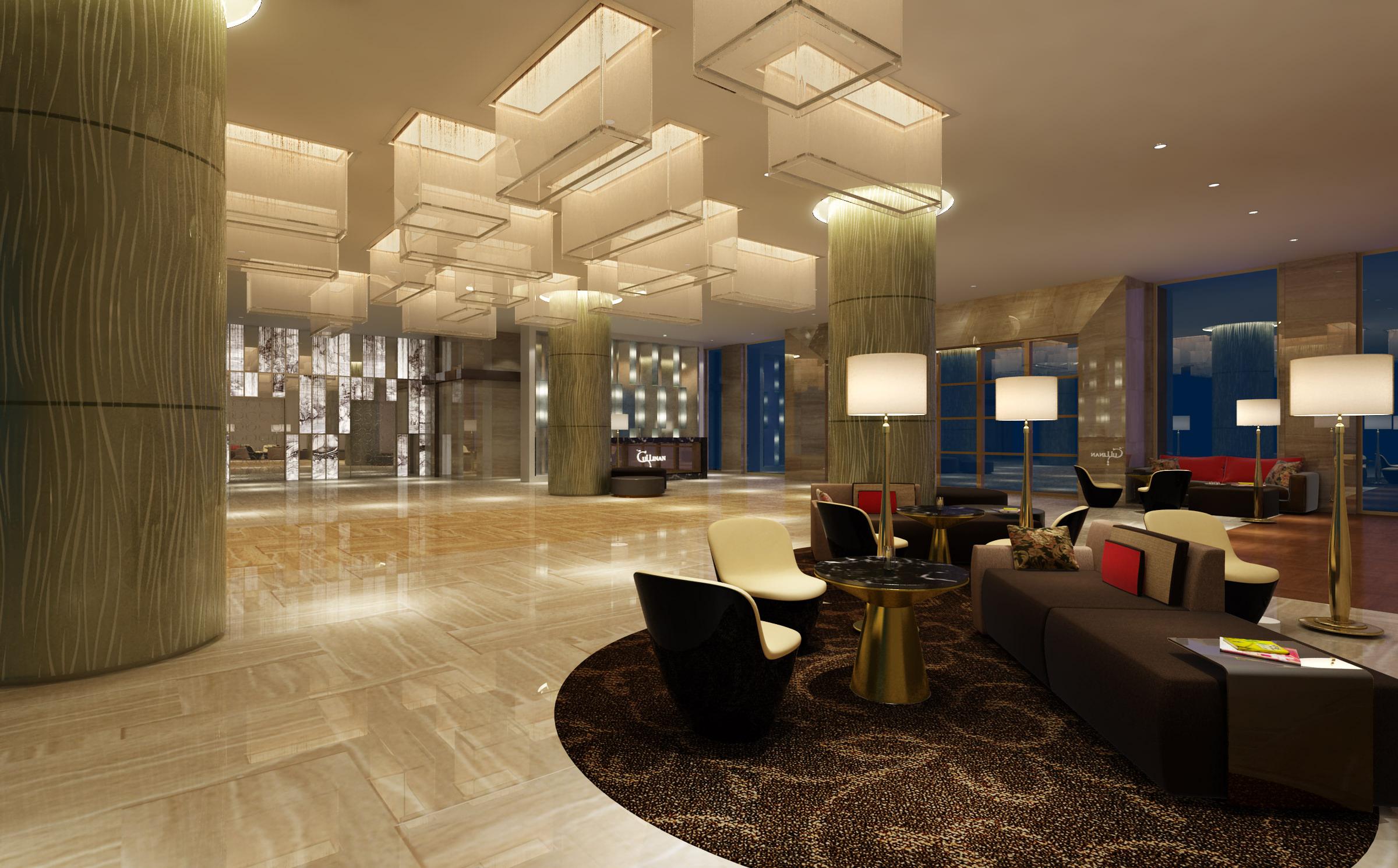 Modern Hotel Lobby 3d Model Max 1