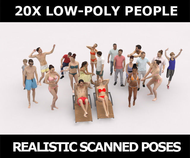 20x 3D PEOPLE LOW POLY SPORT SPORTS BEACH SUMMER PEOPLE CROWDS