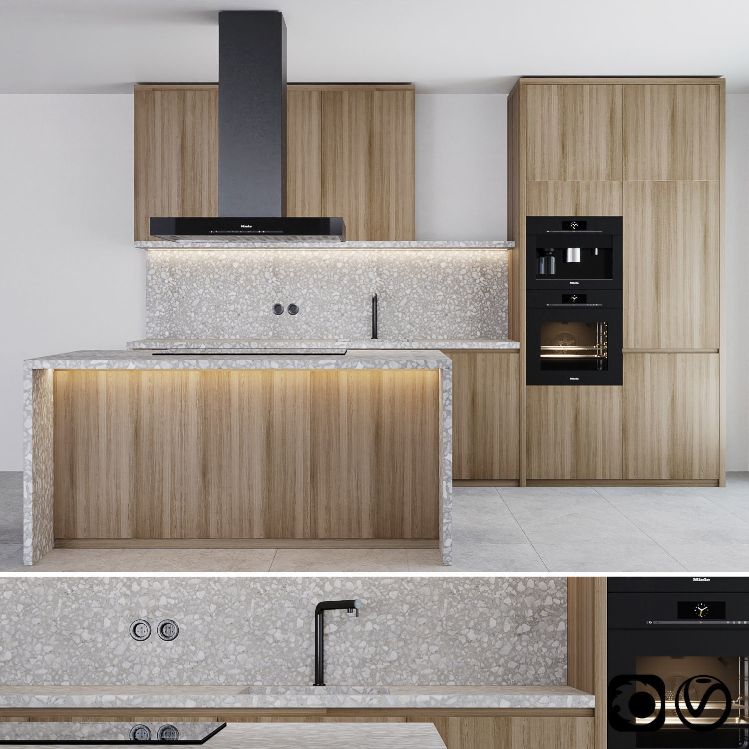 Modern kitchen with island and Miele appliance