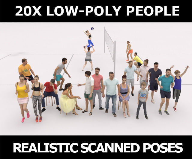 20x LOW POLY SPORT SPORTS SUMMER PEOPLE CROWD