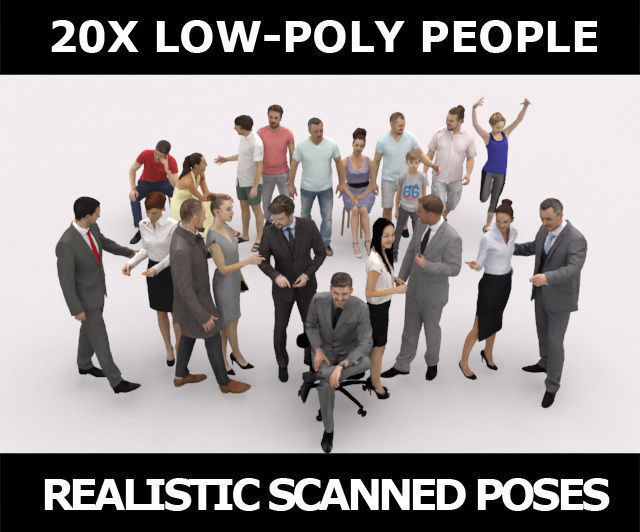 20x LOW POLY BUSINESS ELEGANT SUMMER CASUAL PEOPLE CROWDS