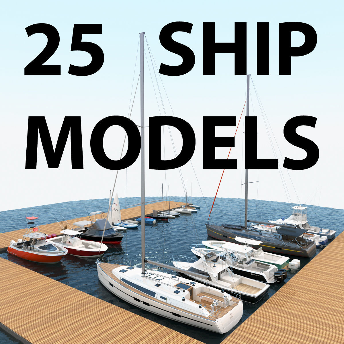 25 Yacht and Boats models collection