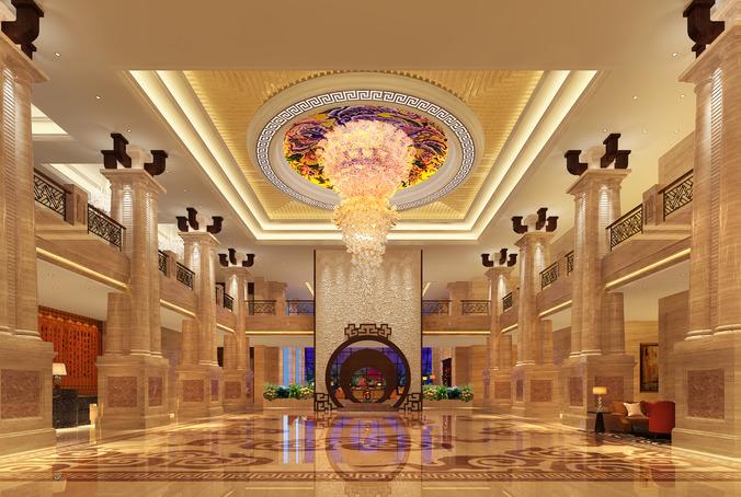 Columns Luxury Lobby 3D CGTrader