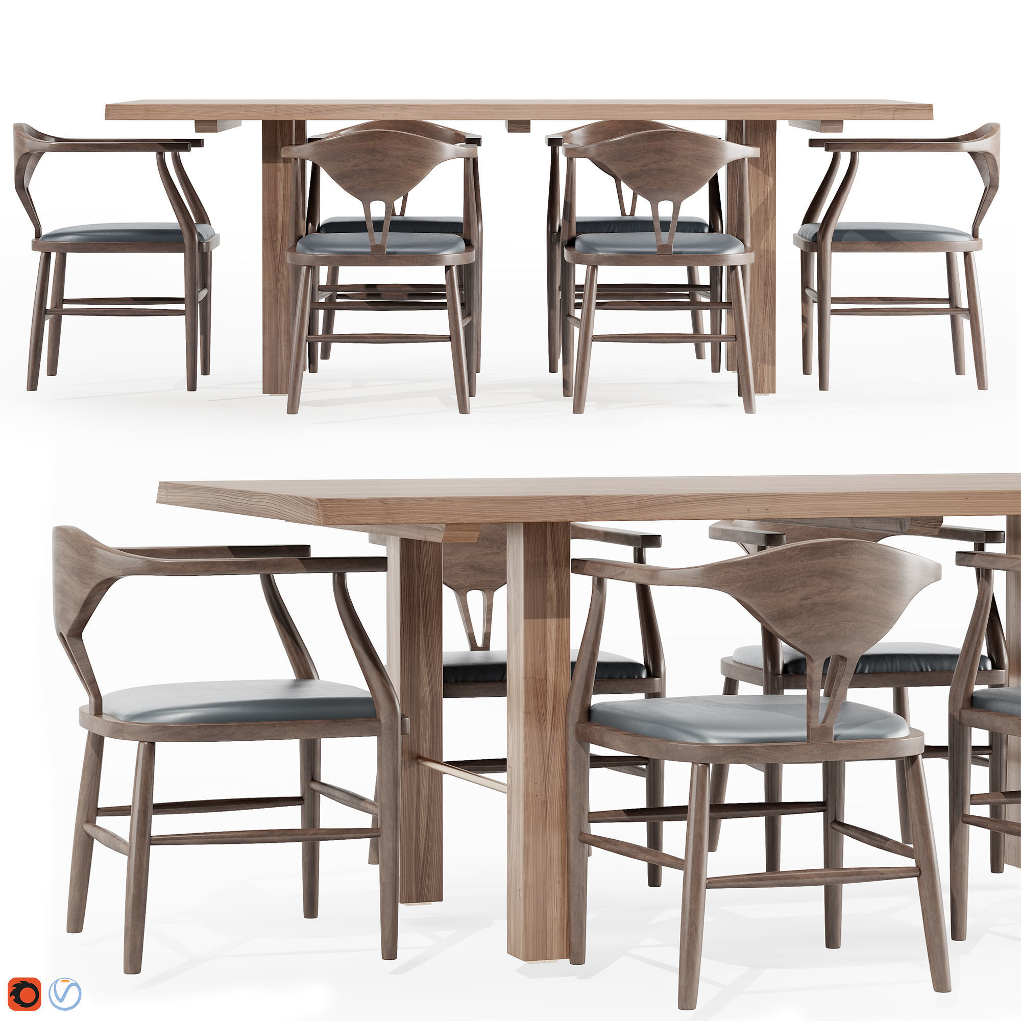 Montana Live Edge Dining Table with Peking B Dining Chairs