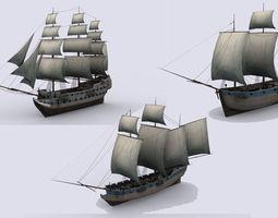 Three sailing ship 3D asset