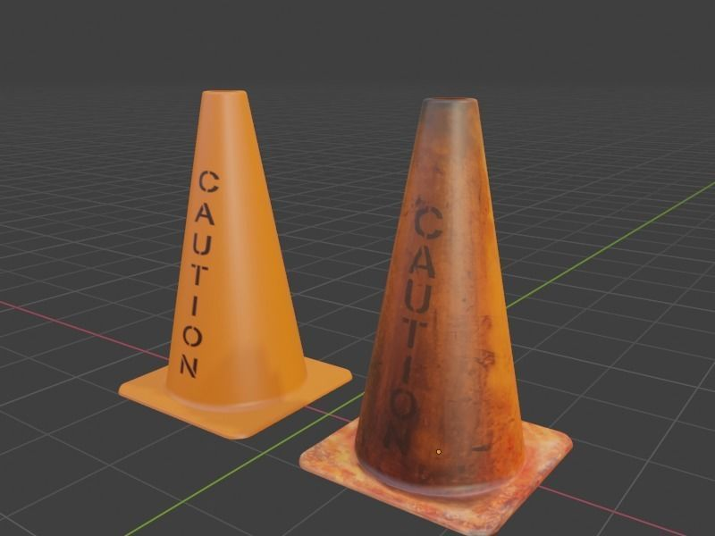 Clean and Dirty Caution Traffic Cones