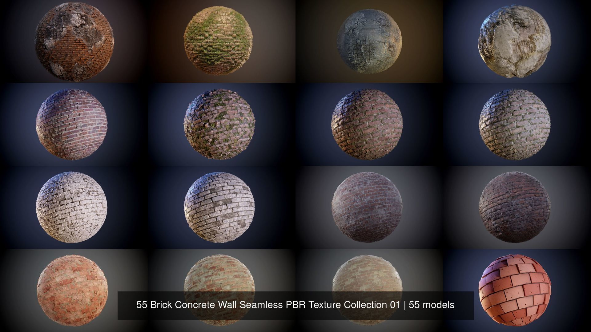 55 Brick Concrete Wall Seamless PBR Texture Collection 01