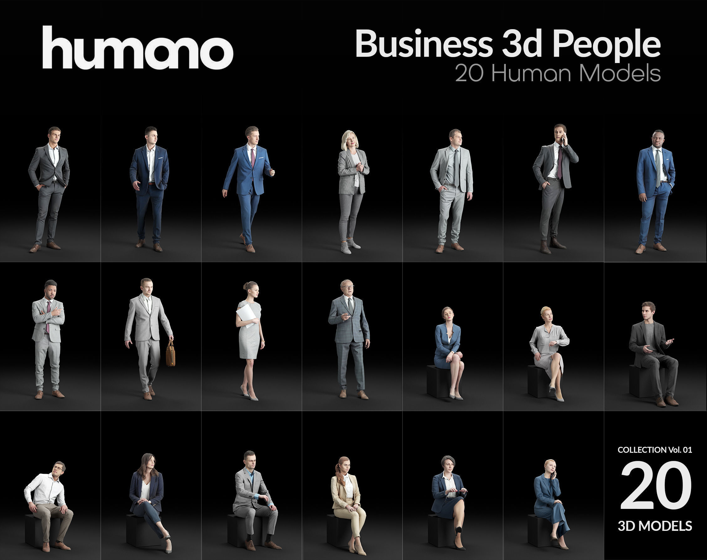 Humano 20-Collection 01- OFFICE BUSINESS PEOPLE - 20x 3D models