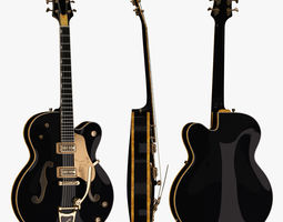 3D Gretsch Black Falcon Guitar