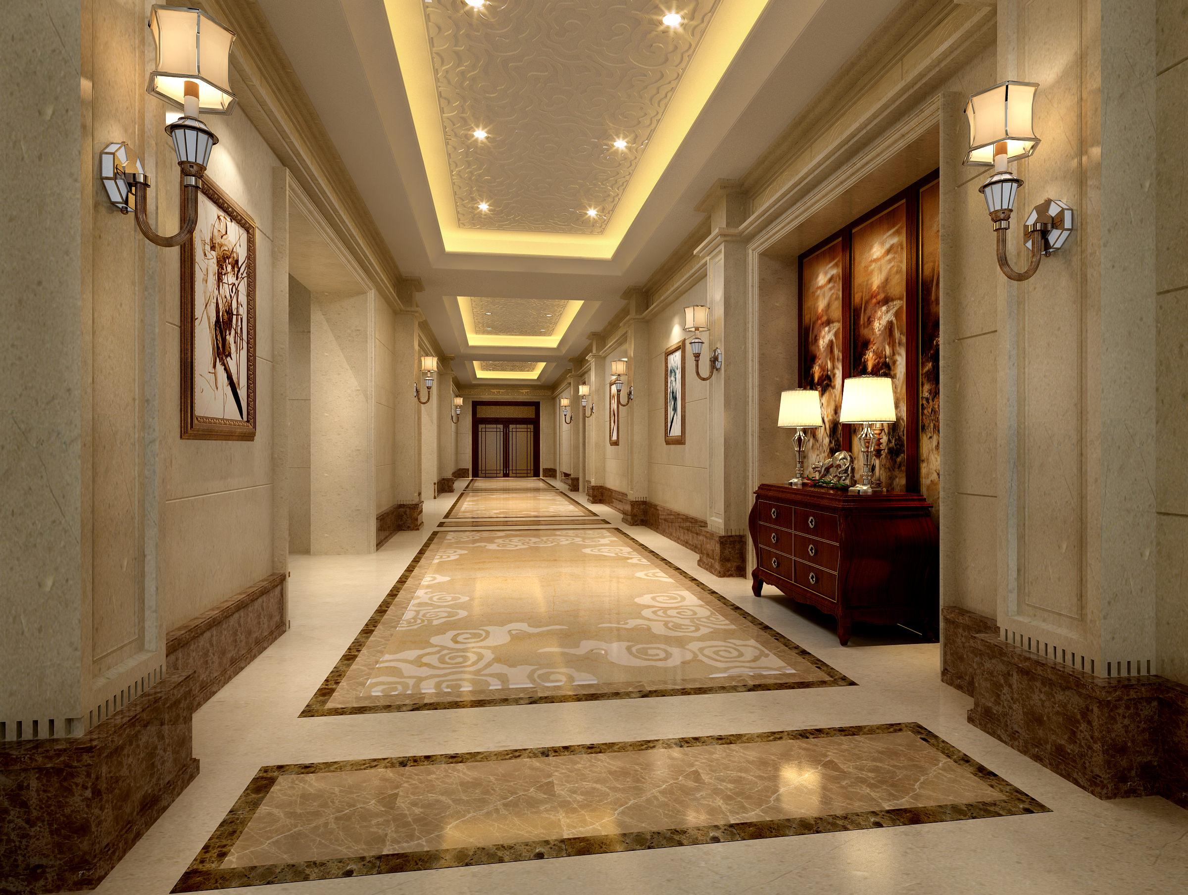 3d rendering luxury hotel lobby china luxury china hotel lobby - Luxury Corridor Hall 3d Model Max 1