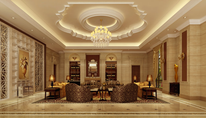living room d model max cgtradercom with d interior design living room - D Classic Interior Design