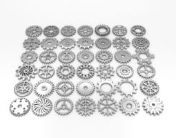 3d model 42 gears game-ready