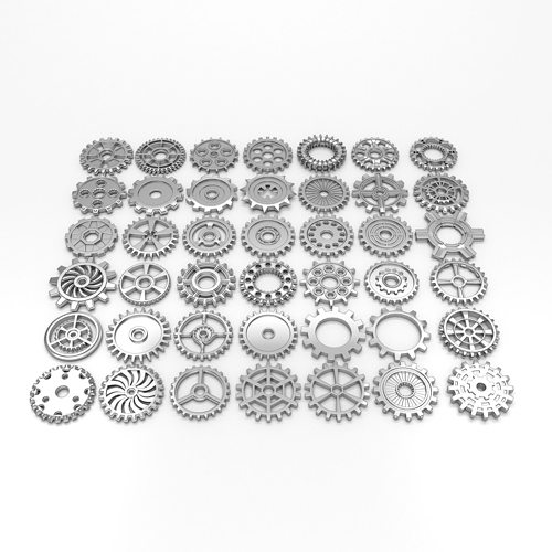 42 gears 3d model low-poly max obj mtl 3ds fbx stl 1