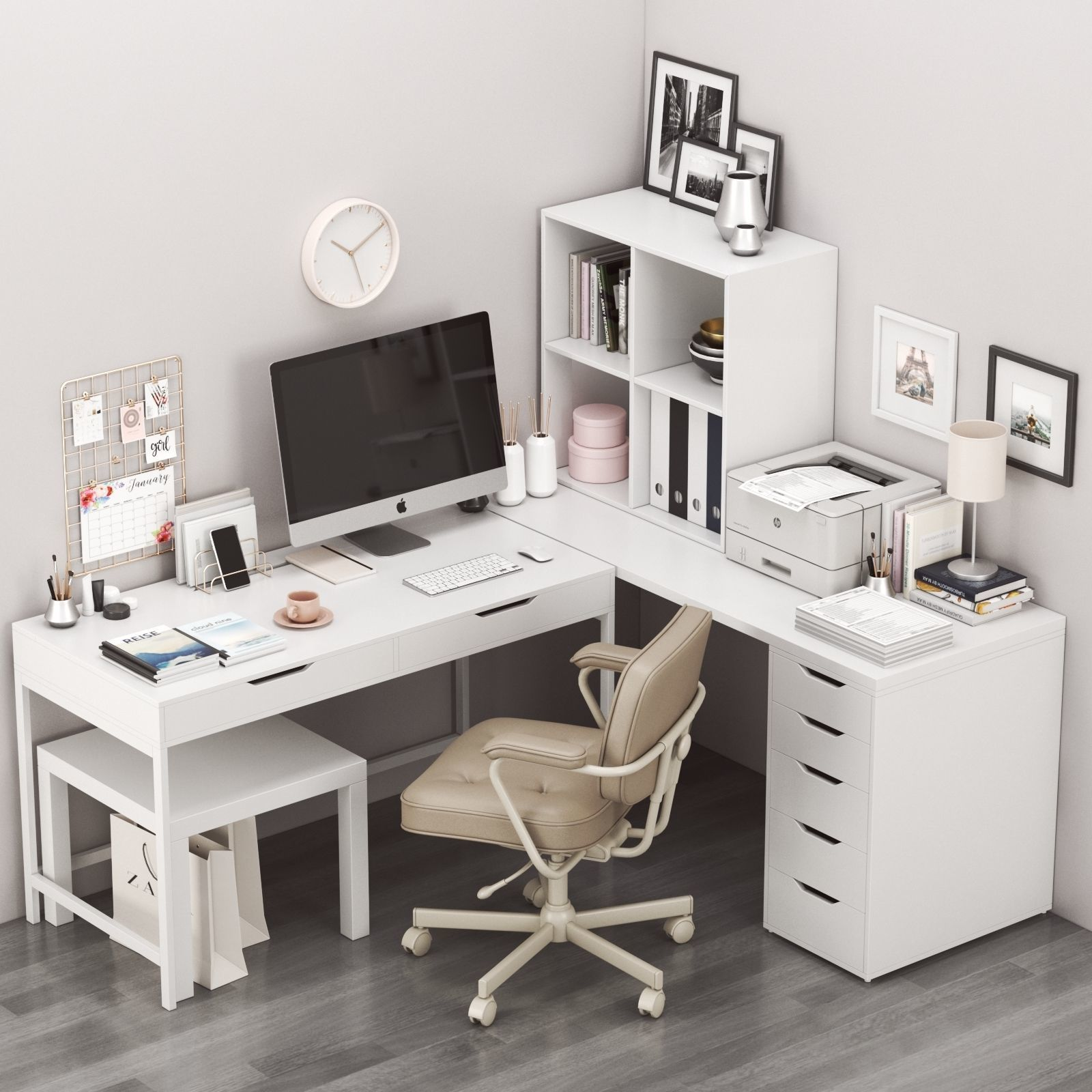 Corner workplace with ALEX table and ALEFJALL chair