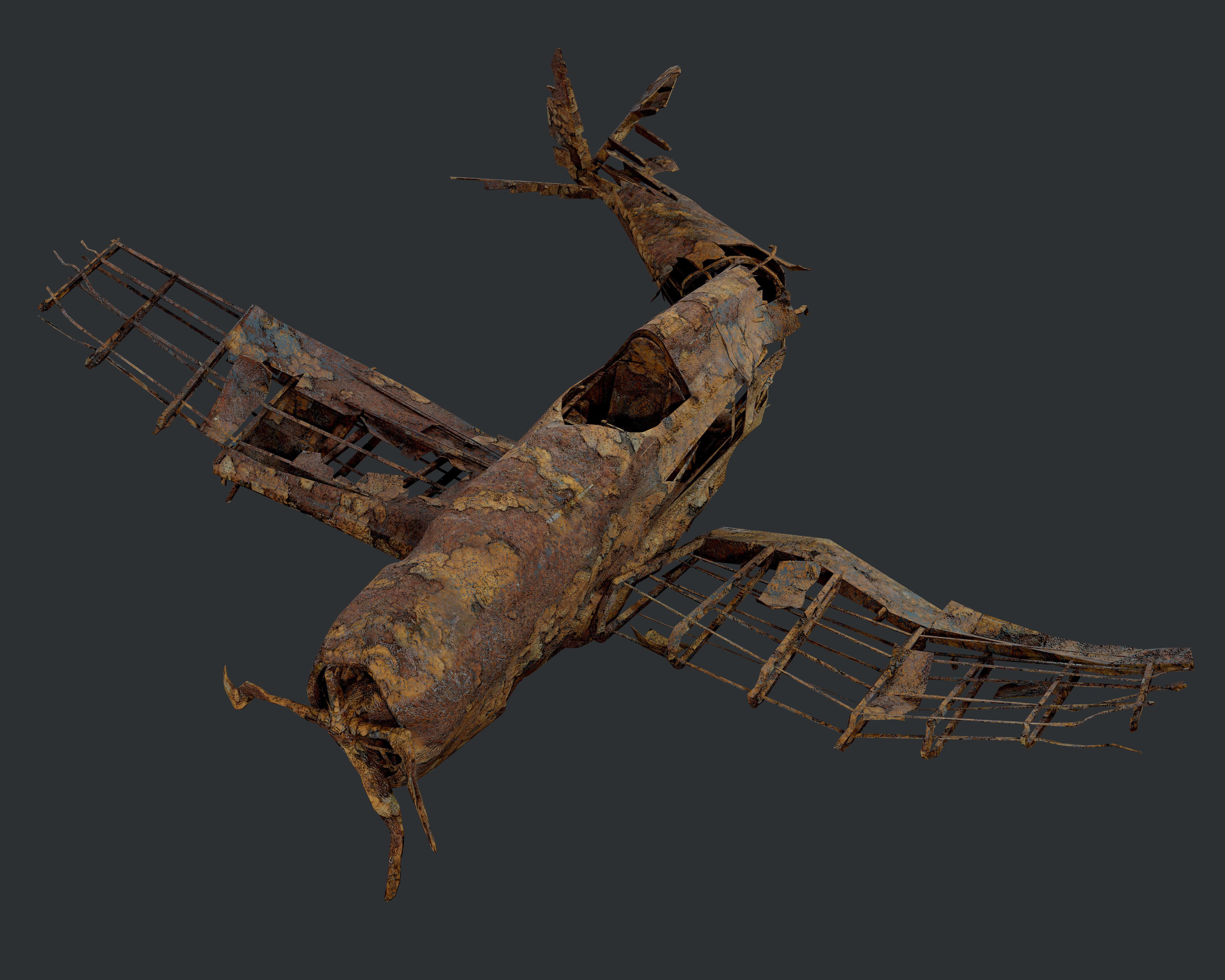 Plane Wreck Damaged Apocalyptic Game Ready 04