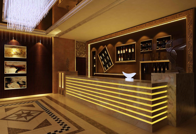 3d model lobby with a wine bar cgtrader for Food bar 3d model