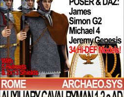 3d ancient rome auxiliary cavalryman props set