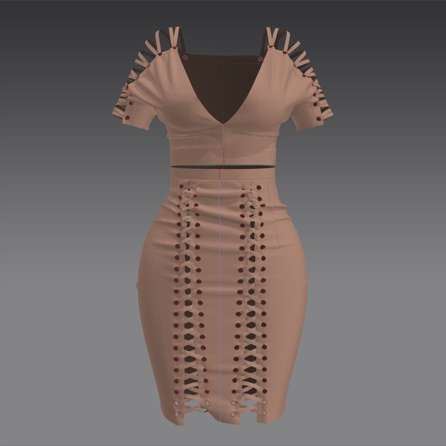Suede sexy dress Marvelous designer