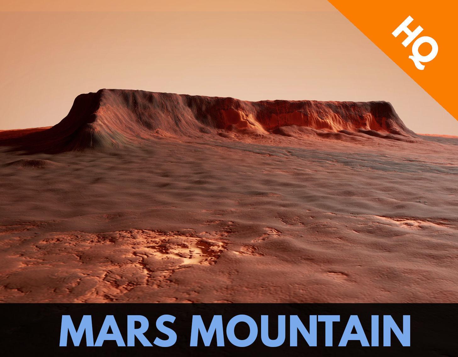Mars Planet Mountain Desert Dunes Terrain Landscape PBR
