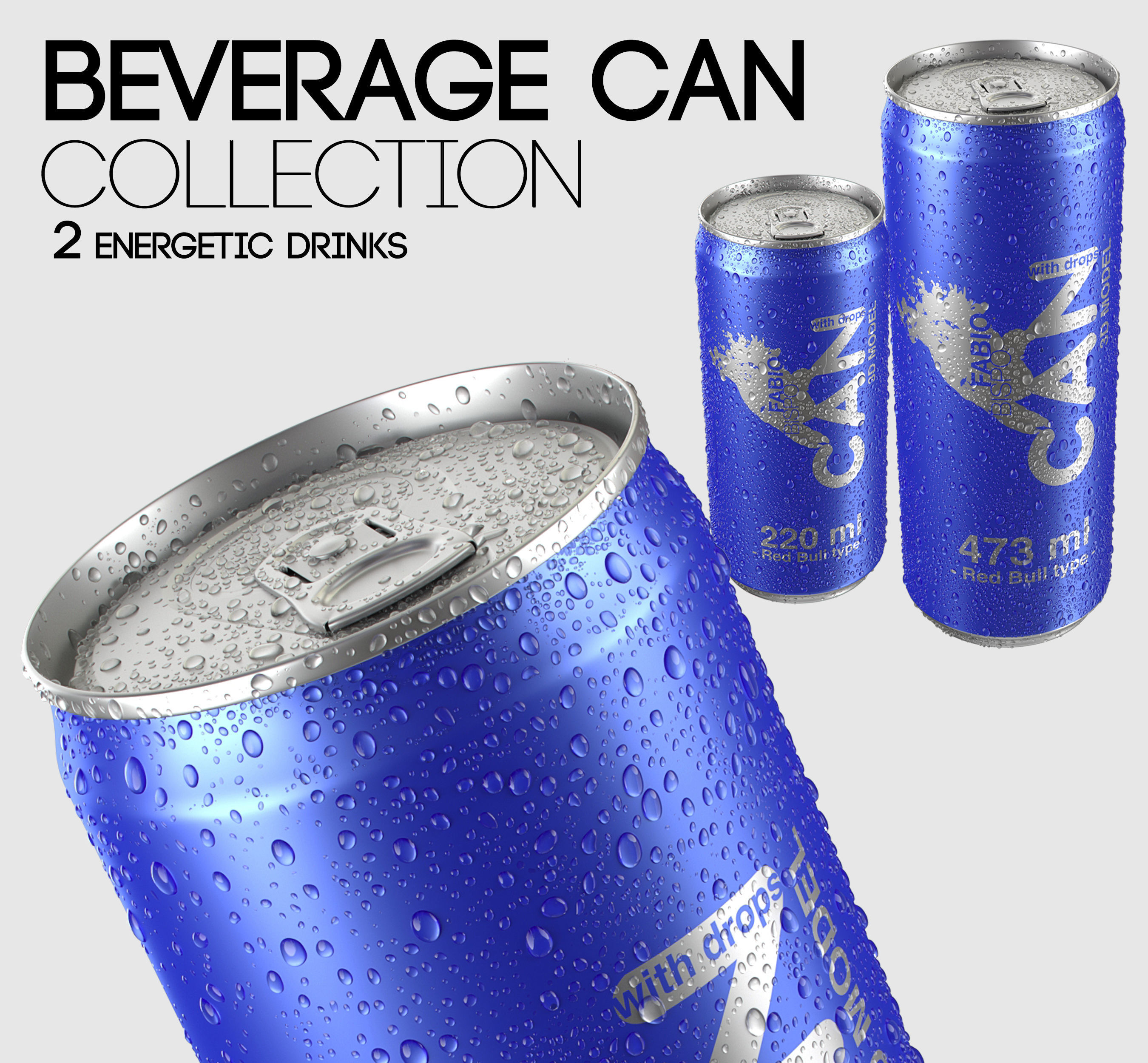 Energetic Beverage Can Collection - 2 Sizes