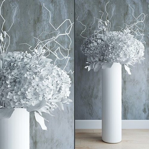 White Hydrangeas In Tall Vase With Willow Branches 3d Model Max Obj Mtl