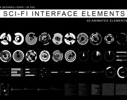 Sci-Fi Interface elements 3D