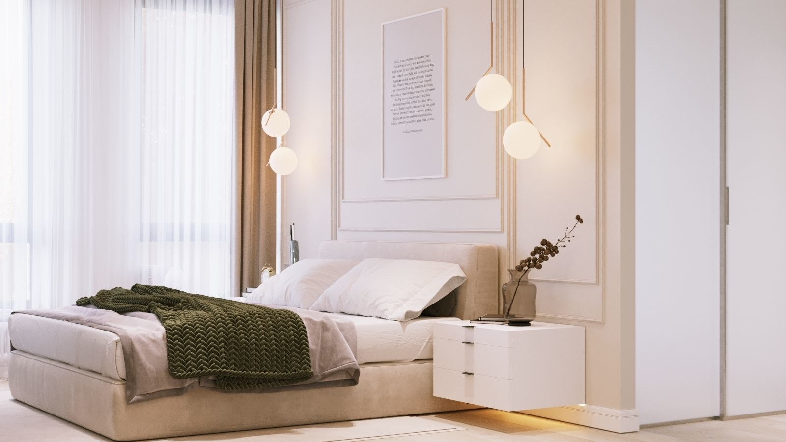 Bedroom Interior Scene and Corona Render