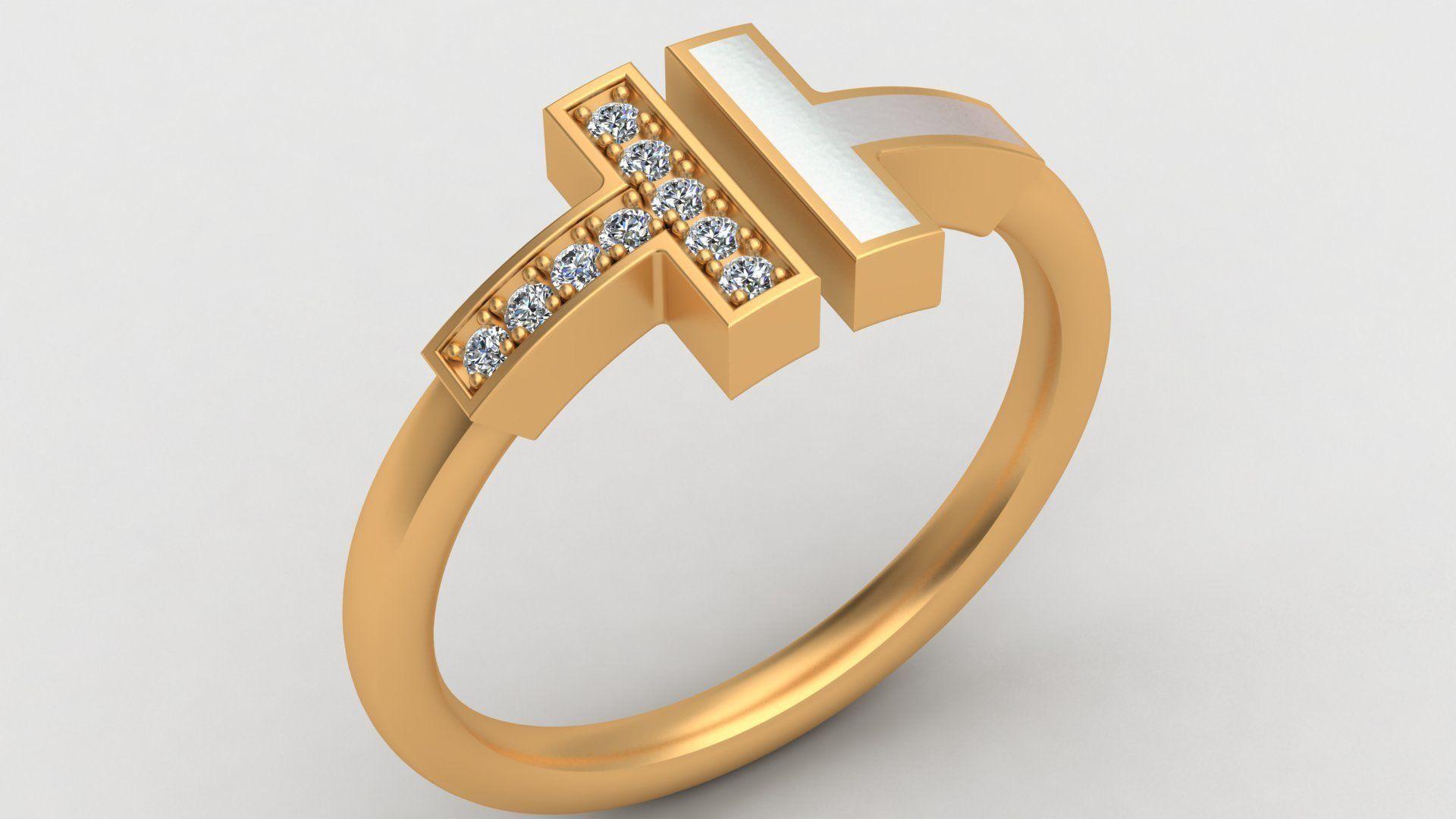 Tiffany T Enamel Gold Diamond Ring