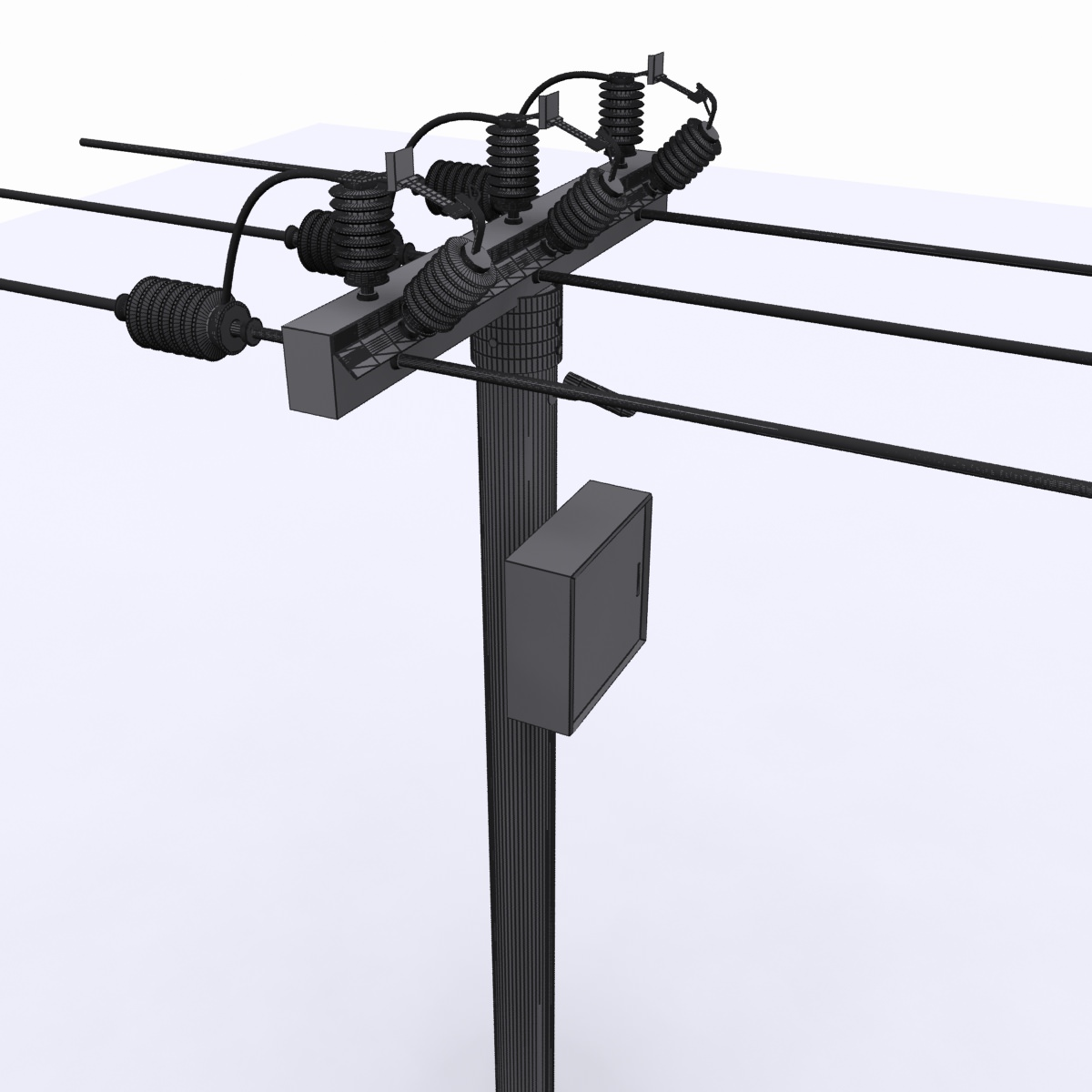 electrical post max 2010 3d model cgtrader