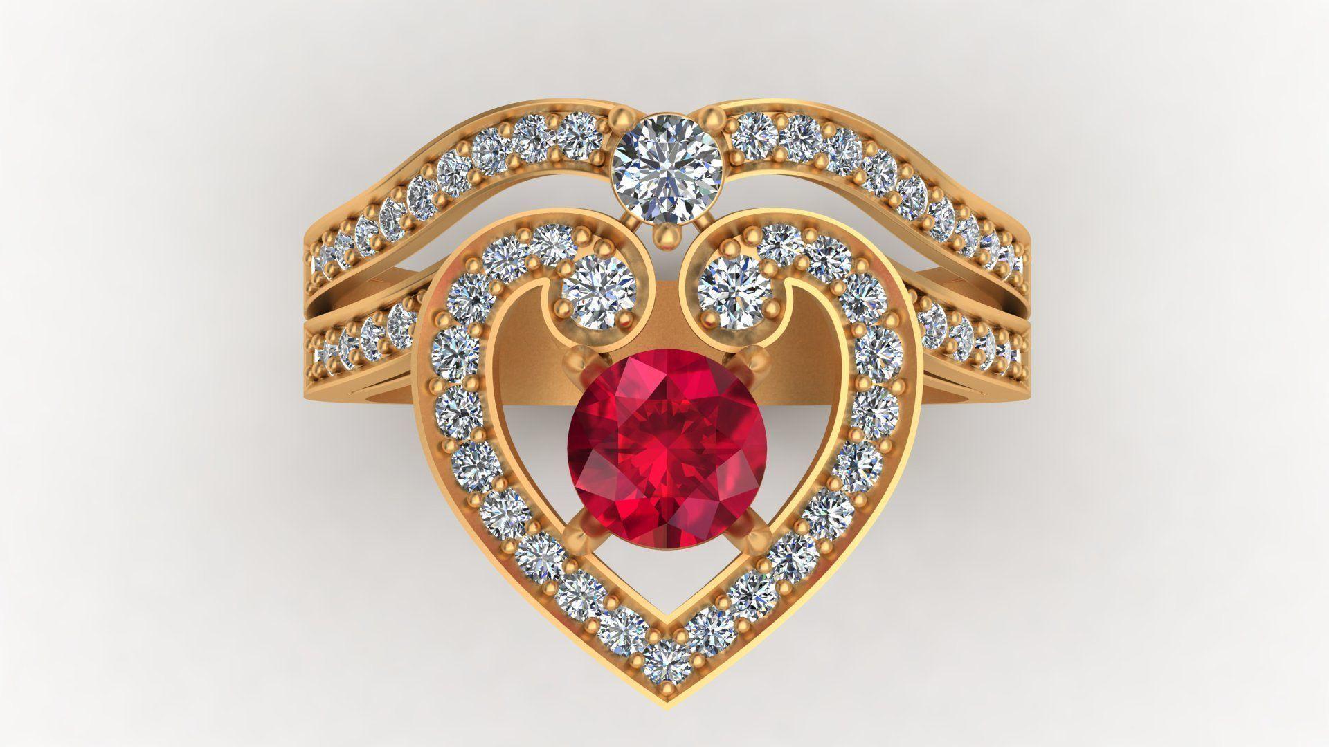 Regal Cascade Diamond Ruby Gold Ring