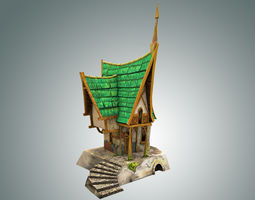3d model realtime low poly green house