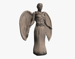 low-poly stone angel statue 3d model
