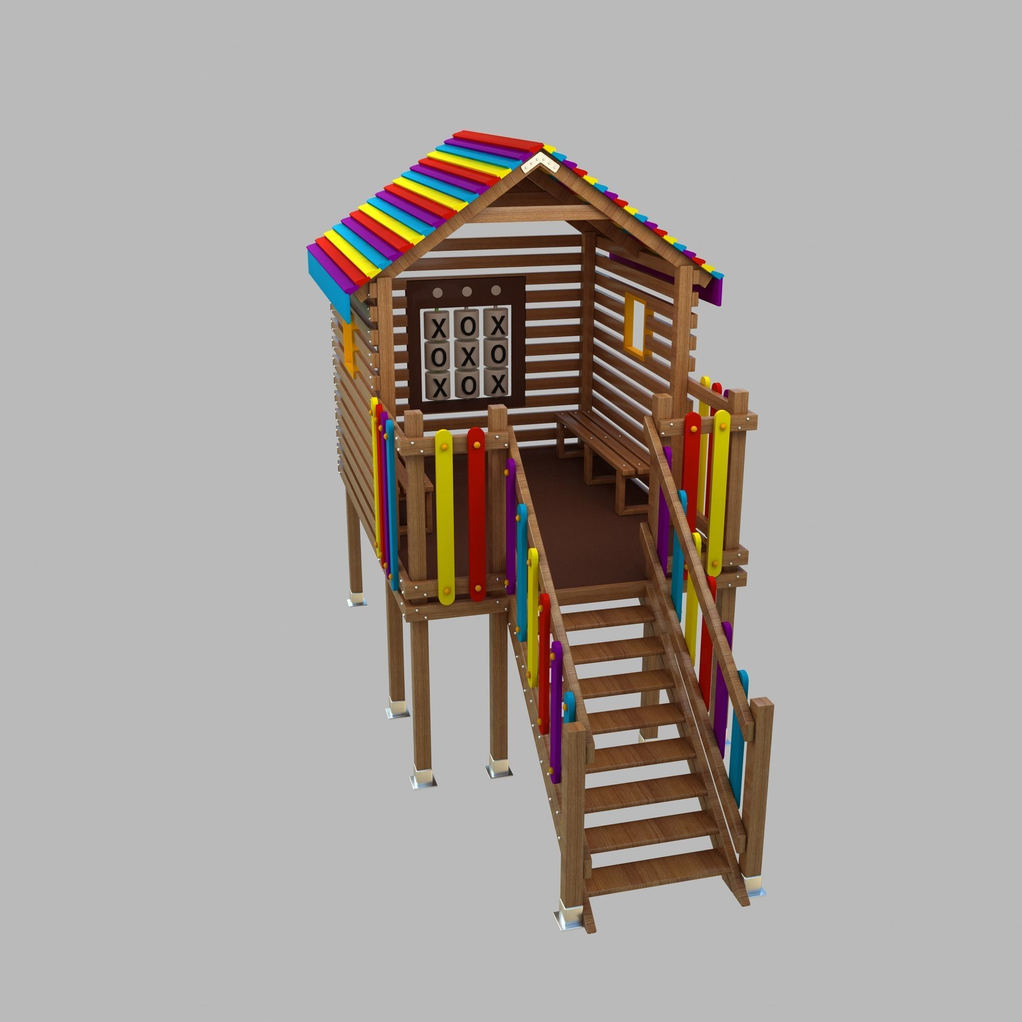 Wooden Colorful PlayHouse Playground Play House