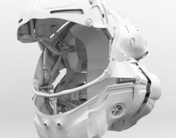 animated 3d model helmet futuristic