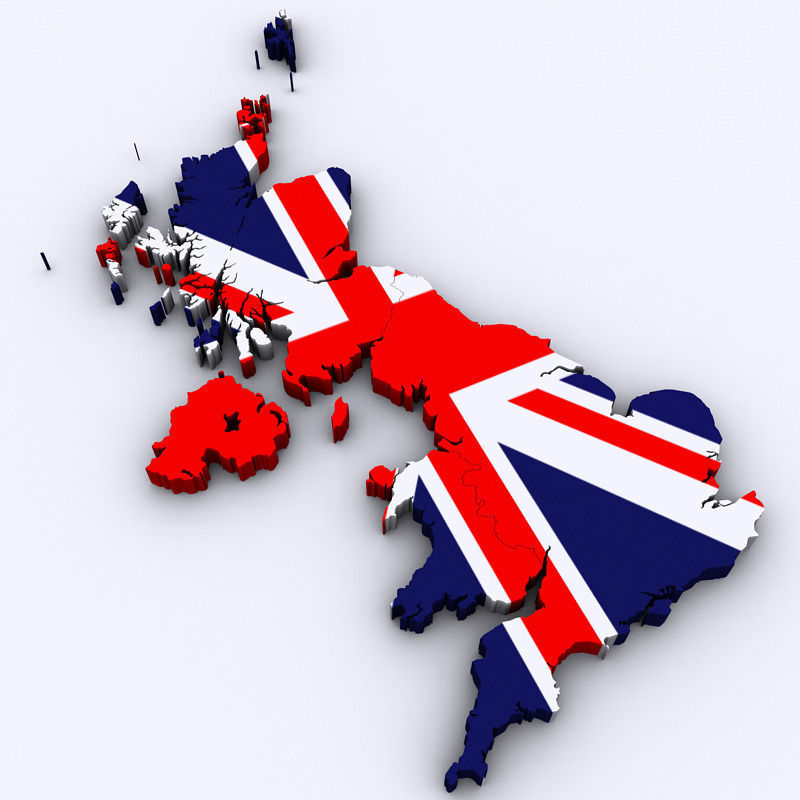 3d Map Of England.Map Of The United Kingdom 3d Model