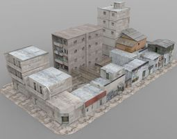3d asset shanty town buildings 2 city blocks a b c rigged VR / AR ready