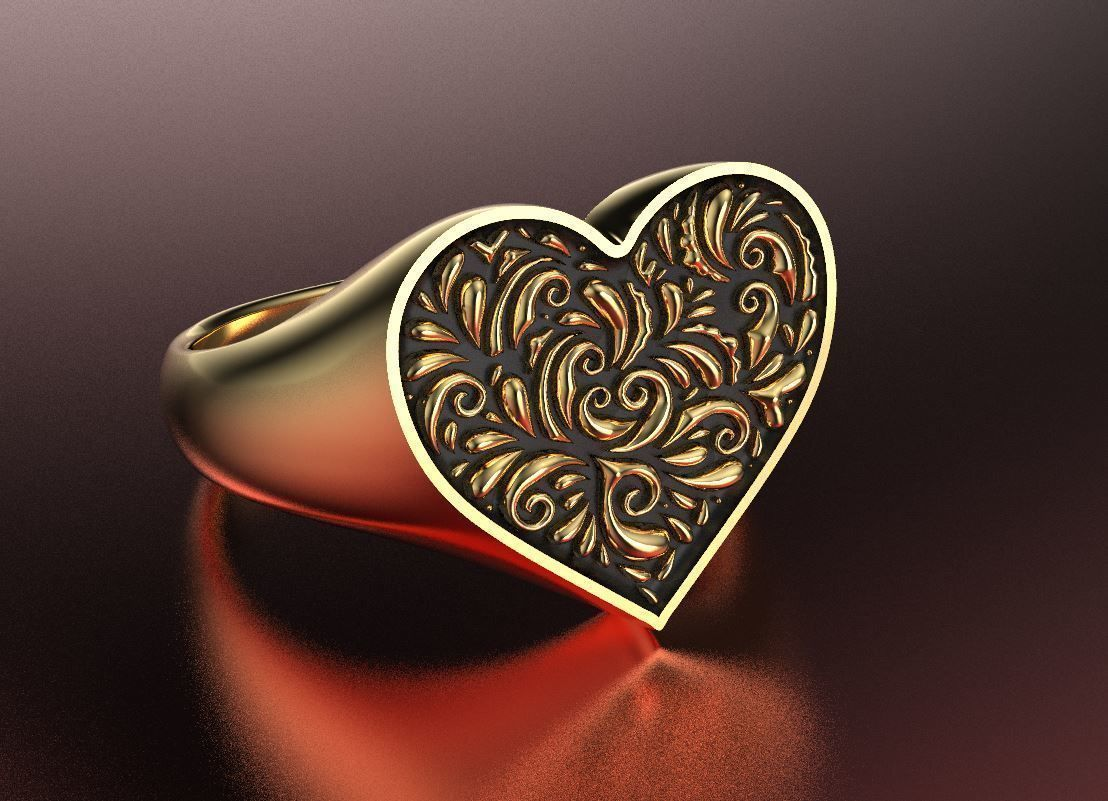 Valentines day heart signet ring with ornament