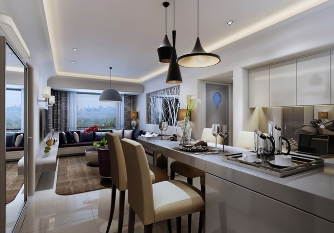 3d models kitchen and dining room