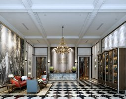 luxurious hotel hall lobby 3d