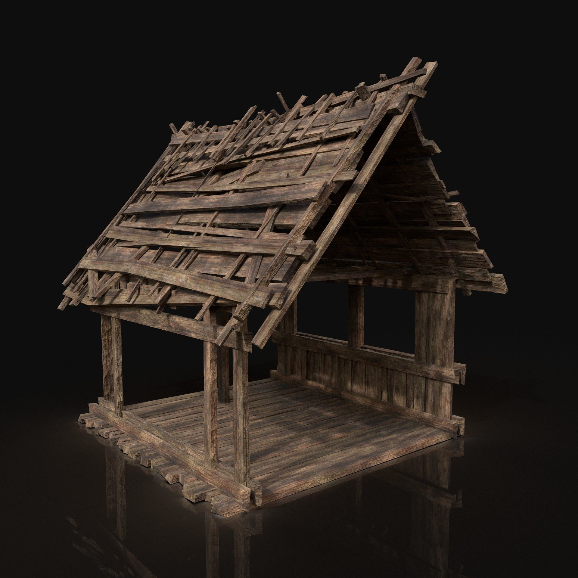 3d Asset Wooden Roofing Cover Construction Reed Hay 2