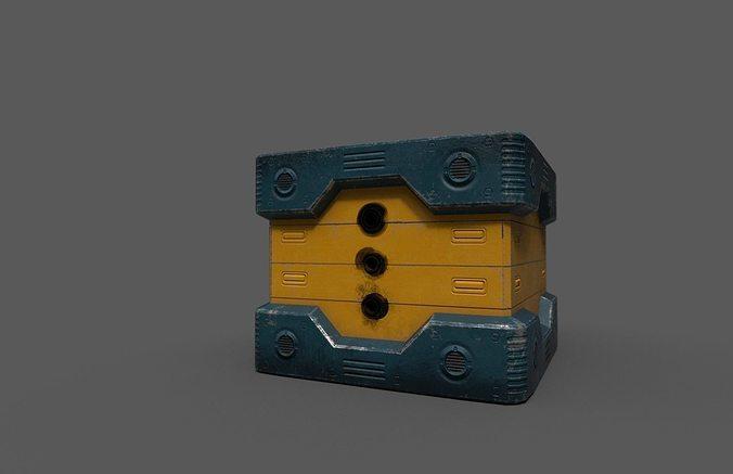 scifi power supplier box 3d model obj mtl fbx 1