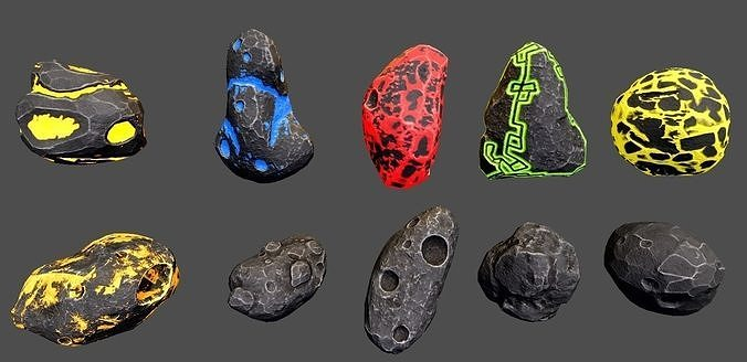 Asteroids -Meteorite PBR Low-poly 3D model