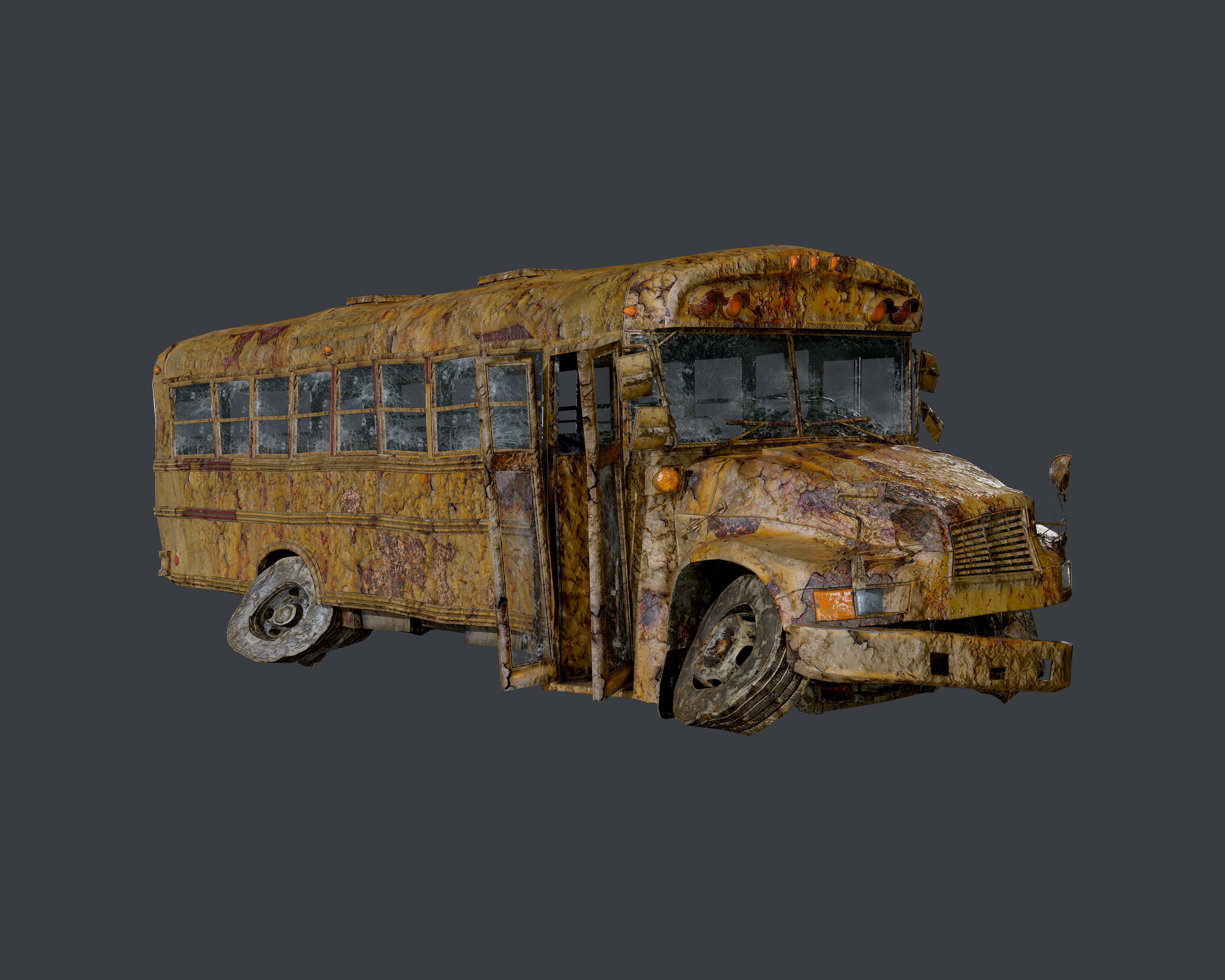 Apocalyptic Damaged Destroyed Vehicle School Bus Game Ready 04