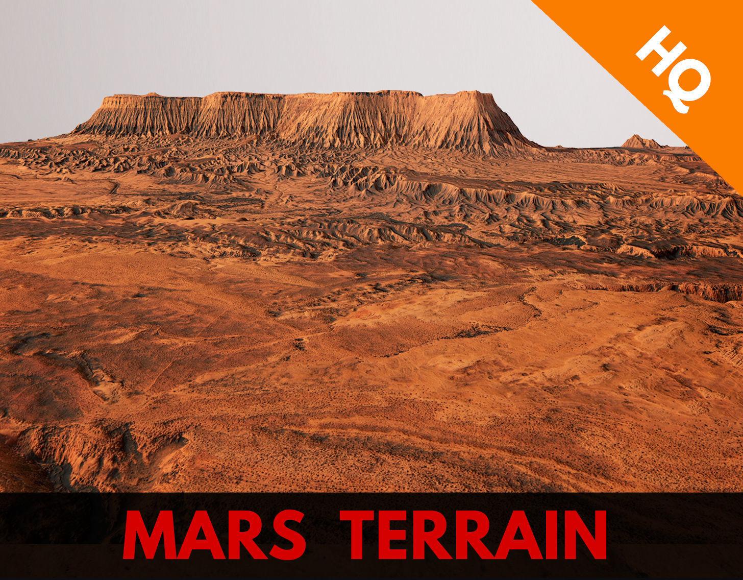 Mars Planet Landscape Desert Terrain Valley 10x10km PBR 01