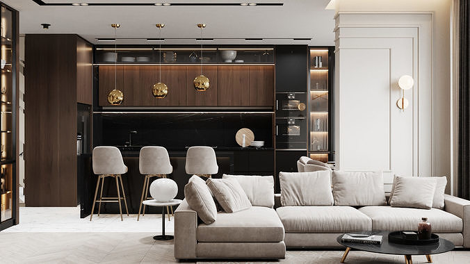 Modern Apartment Interior Scene and Corona Render