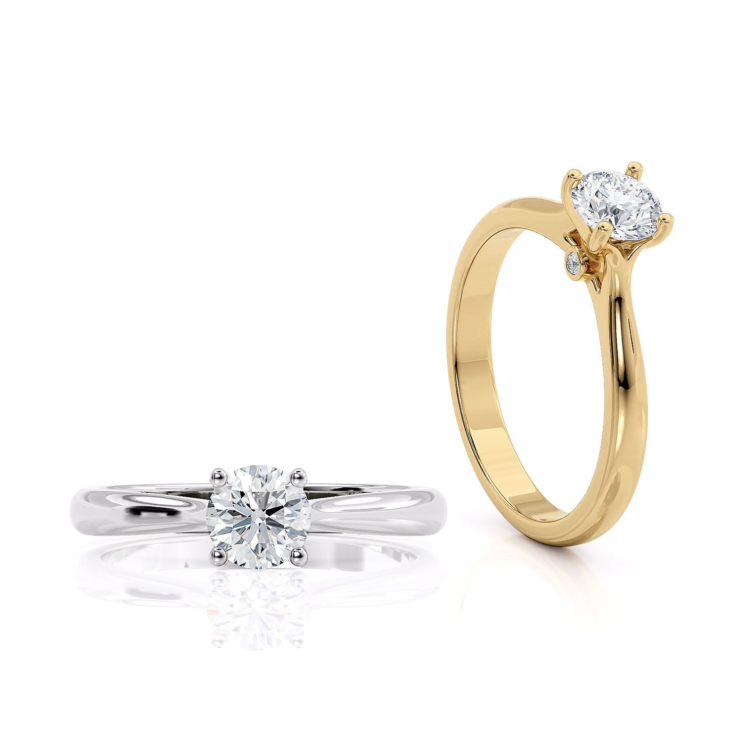 Engagement solitaire ring printable 3d model