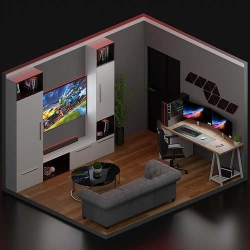 Realistick Low Poly Gaming Room Design 3d Asset Cgtrader Your plan will then become a fully 3d image that you can drag and look around from any angle. realistick low poly gaming room design 3d model