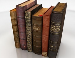 old books set 3D model